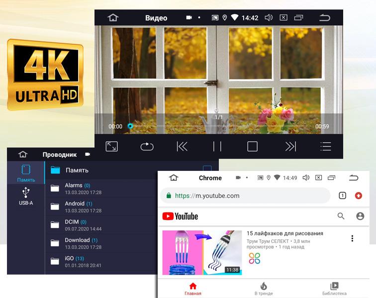 4K видео в магнитолах на Андроиде